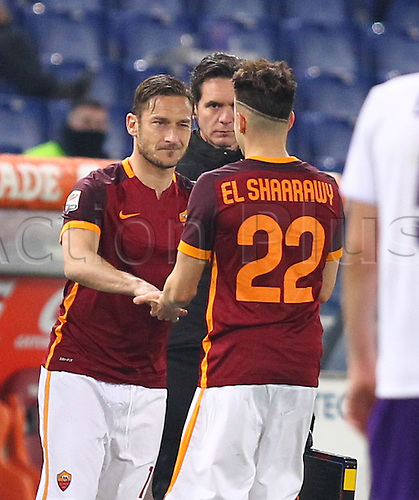 04.03.2016. Stadium Olimpico, Rome, Italy.  Serie A football league. AS Roma versus Fiorentina. El SHAARAWY substitutes with Totti