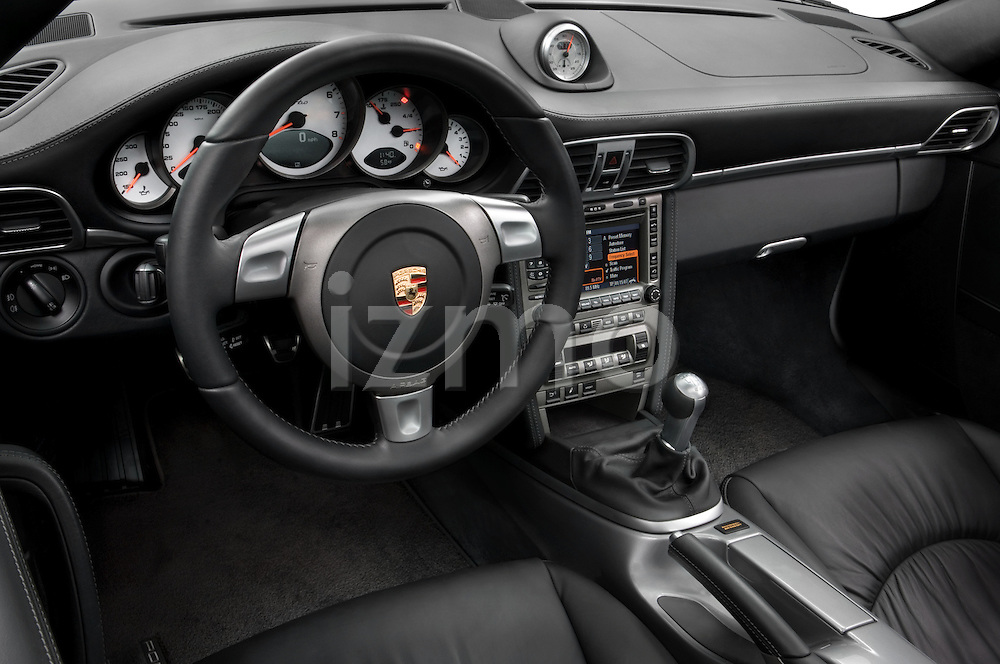 High angle dashboard view of a 2007 Porsche 911 turbo coupe