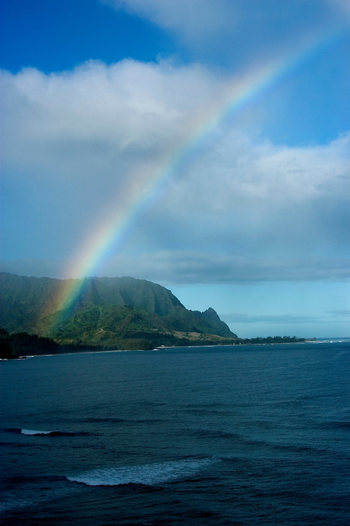 Hawaii: Kauai, rainbow at north end of island, near Princeville.  Photo hifree123.Photo copyright Lee Foster, 510/549-2202, lee@fostertravel.com, www.fostertravel.com