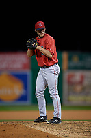 Lowell Spinners pitcher Dylan Spacke (44) during a NY-Penn League Semifinal Playoff game against the Batavia Muckdogs on September 4, 2019 at Dwyer Stadium in Batavia, New York.  Batavia defeated Lowell 4-1.  (Mike Janes/Four Seam Images)