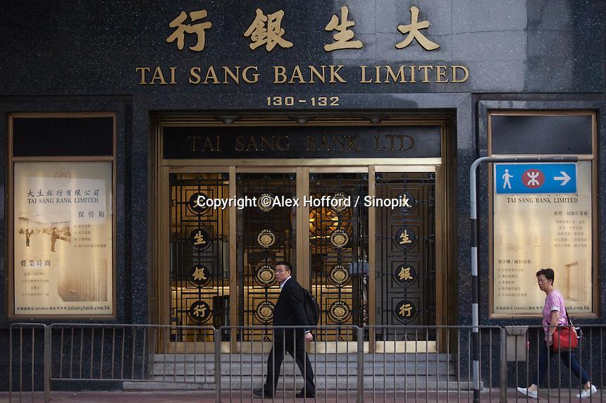 An exterior shot of the Tai Sang Bank, Central district, Hong Kong, China, 28 April 2014.