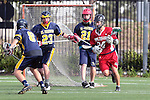 El Segundo, CA 04/27/10 - Travis Zeiler (El Segundo # 23) and Cam Chupp (Simi Valley # 24) in action during the Simi Valley-El Segundo non cif game at El Segundo Campus Facility, Simi Valley defeated El Segundo 9-5.