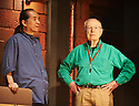 Peter Brook with musician Toshi Tsuchitori on the set of The Valley of Astonishment written and directed by Peter Brook and Marie-Helene Estienne at The Young Vic Theatre  on 20/6/14  pic Geraint Lewis