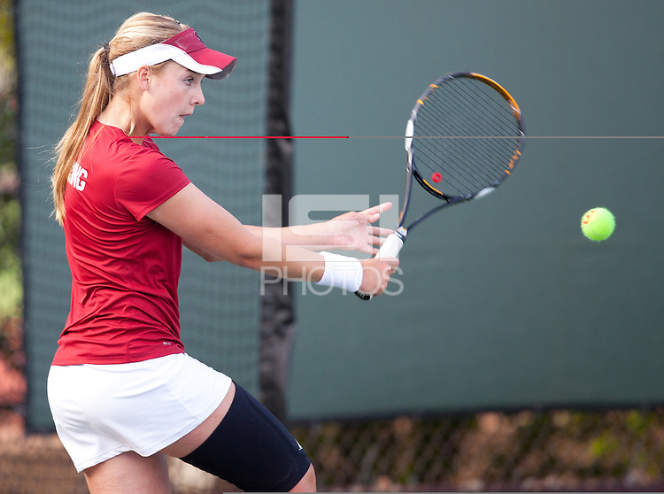 STANFORD, CA - April 14, 2011: Amelia Herring of Stanford women's tennis during Stanford's dual against St. Mary's. Stanford won 6-1.