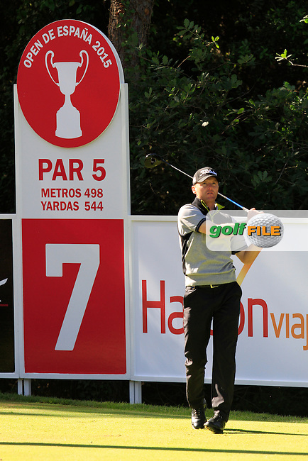 Michael Hoey (NIR) on the 7th tee during Round 2 of the Open de Espana  in Club de Golf el Prat, Barcelona on Friday 15th May 2015.<br /> Picture:  Thos Caffrey / www.golffile.ie