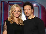 Betsy Wolfe and Jason Mraz attend the Jason Mraz joins the cast of  'Waitress' Press Event on October 30, 2017 at You Tube Space in New York City.