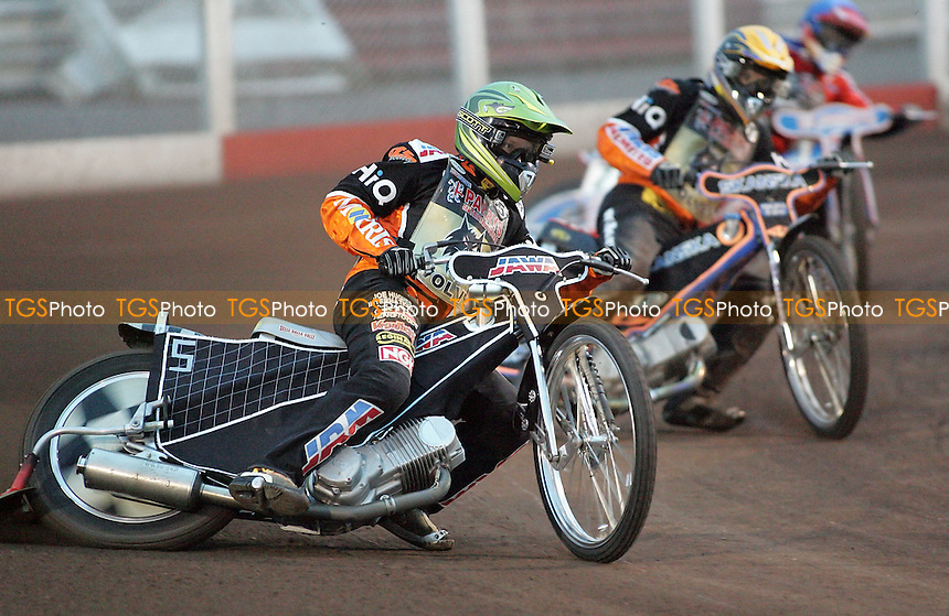 Heat 4 - Lindgren (green), M Karlsson, Neath - Lakeside Hammers vs Wolverhampton Wolves - Elite League 'A' Fixture at Arena Essex - 11/05/07 - MANDATORY CREDIT: Gavin Ellis/TGSPHOTO - IMAGES USED WILL BE INVOICED AT STANDARD RATES..