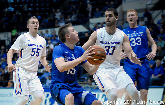 March 4, 2017:  Air Force guard, Jacob Van #15, pulls up in front of the basket during the NCAA basketball game between the Boise State Broncos and the Air Force Academy Falcons, Clune Arena, U.S. Air Force Academy, Colorado Springs, Colorado.  Boise State defeats Air Force 98-70.