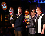 Barrett Foa, Rob McClure and Jordan Gelber during the 'Avenue Q' 15th Anniversary Reunion Concert at Feinstein's/54 Below on July 30, 2018 in New York City.