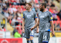 Lincoln City's Cian Bolger, left, and Lincoln City's Michael Bostwick<br /> <br /> Photographer Chris Vaughan/CameraSport<br /> <br /> The EFL Sky Bet Championship - Rotherham United v Lincoln City - Saturday 10th August 2019 - New York Stadium - Rotherham<br /> <br /> World Copyright © 2019 CameraSport. All rights reserved. 43 Linden Ave. Countesthorpe. Leicester. England. LE8 5PG - Tel: +44 (0) 116 277 4147 - admin@camerasport.com - www.camerasport.com