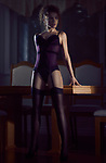 Sensual glamour portrait of a sexy beautiful woman wearing a purple corset and stockings standing in a bold confident femme fatale pose leaning against a table in dim night light Image © MaximImages, License at https://www.maximimages.com
