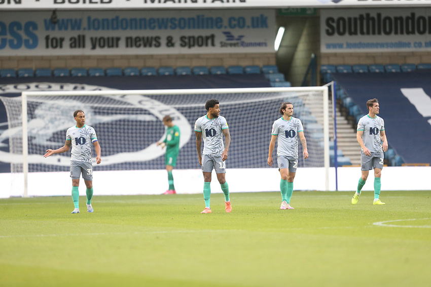 Dejection for Blackburn Rovers after going 1-0 down<br /> <br /> Photographer Rob Newell/CameraSport<br /> <br /> The EFL Sky Bet Championship - Millwall v Blackburn Rovers - Tuesday July 14th 2020 - The Den - London<br /> <br /> World Copyright © 2020 CameraSport. All rights reserved. 43 Linden Ave. Countesthorpe. Leicester. England. LE8 5PG - Tel: +44 (0) 116 277 4147 - admin@camerasport.com - www.camerasport.com