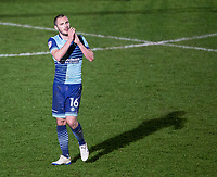 Michael Harriman of Wycombe Wanderers applauds the support after the Sky Bet League 2 match between Wycombe Wanderers and Plymouth Argyle at Adams Park, High Wycombe, England on 14 March 2017. Photo by Andy Rowland / PRiME Media Images.