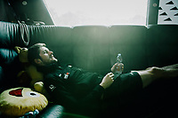 Luke Durbridge (AUS/Mitchelton-Scott) resting in the teambus after the last mountain stage of the 2018 Tour<br /> <br /> Stage 19: Lourdes > Laruns (200km)<br /> <br /> 105th Tour de France 2018<br /> ©kramon