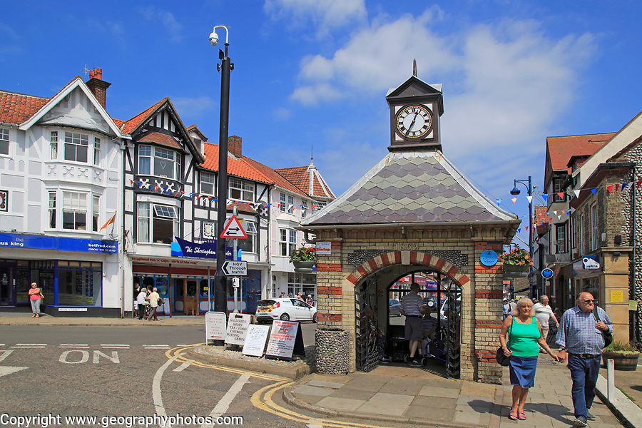 Town clock tower building at Sheringham, Norfolk, England, UK