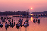AJ1115, sunset, sunrise, marina, Maryland, Georgetown, Sunset over the marina on Sassatras River in Chesapeake Bay in Georgetown in Maryland.