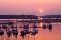 AJ1115, sunset, sunrise, marina, Maryland, Georgetown, Sunset over the marina on Sassatras River in Chesapeake Bay in Georgetown in Maryland.