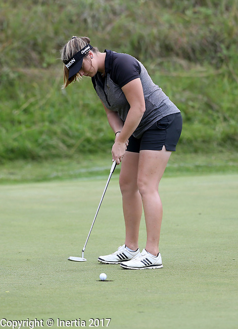 SIOUX FALLS, SD - AUGUST 31: Kassidy Teare rolls her par putt on the 7th green, her 16th hole, during the first round of the Great Life Challenge, Symetra Tour stop at Willow Run Thursday afternoon. (Photo by Dave Eggen/Inertia)