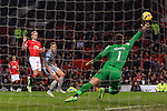 James Wilson of Manchester United fires a shot in to the side netting - Manchester United vs. Burnley - Barclay's Premier League - Old Trafford - Manchester - 11/02/2015 Pic Philip Oldham/Sportimage