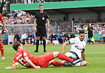 10.08.2019,  GER; DFB Pokal, SV Drochtersen/Assel vs FC Schalke 04 ,DFL REGULATIONS PROHIBIT ANY USE OF PHOTOGRAPHS AS IMAGE SEQUENCES AND/OR QUASI-VIDEO, im Bild Soeren Behrmann (Drochtersen #13) versucht sich gegen Steven Skrzybski (Schalke #22) durchzusetzen Foto © nordphoto / Witke *** Local Caption ***