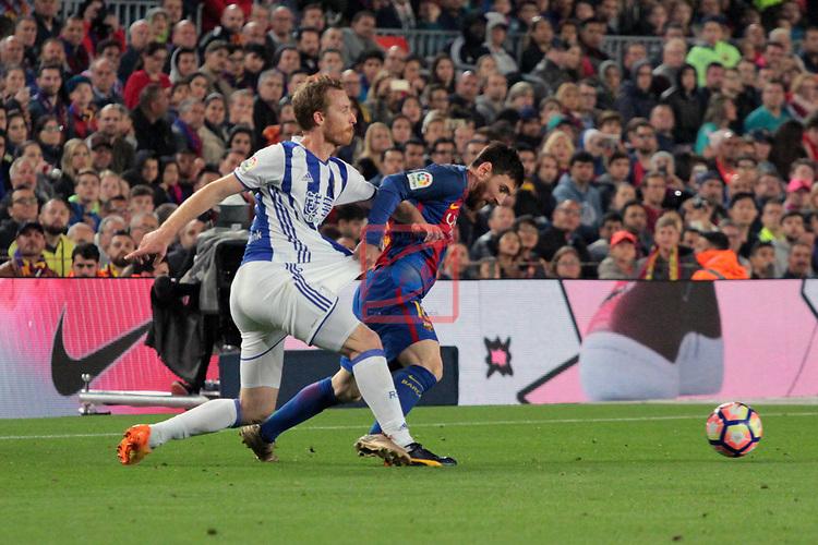League Santander 2016/2017. Game: 32.<br /> FC Barcelona vs Real Sociedad: 3-2.<br /> Zurutuza vs Lionel Messi.