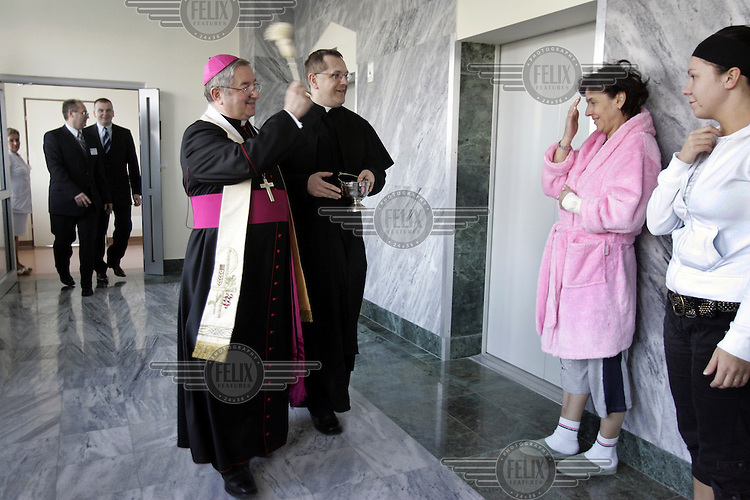 Archbishop Leszek Slawoj Glodz blessing the ill during the opening of a new part of the Miedzyleski Szpital Specjalistyczny hospital...