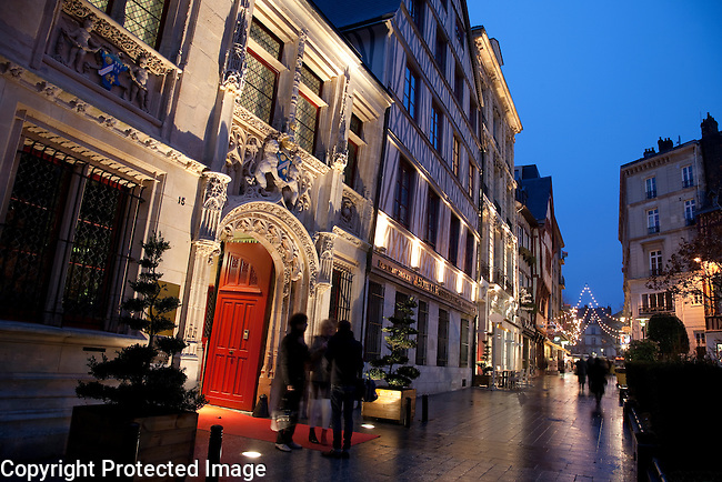 Illuminated Entrance of Bourgtheroulde Hotel in Rouen, Normandy, France