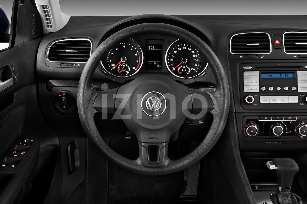 Steering wheel view of a 2010 Volkswagen Jetta SportWagen S