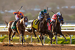 AUG 29: CZ Rocket with Flavien Prat (orange) defeats Flagstaff (green) to win the Pat O'Brien Stakes in Del Mar, California on August 29, 2020. Evers/Eclipse Sportswire/CSM