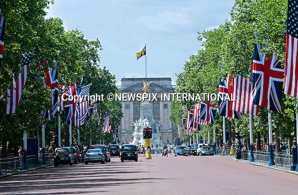 "PRESIDENT OBAMA STATE VISIT.American and British flags draped along the Mall leading to Buckingham Palace, where the President and Mrs. Obama will reside during their 3-day visit, London_24/05/2011.Mandatory Photo Credit: ©Dias/Newspix International..**ALL FEES PAYABLE TO: ""NEWSPIX INTERNATIONAL""**..PHOTO CREDIT MANDATORY!!: NEWSPIX INTERNATIONAL(Failure to credit will incur a surcharge of 100% of reproduction fees)..IMMEDIATE CONFIRMATION OF USAGE REQUIRED:.Newspix International, 31 Chinnery Hill, Bishop's Stortford, ENGLAND CM23 3PS.Tel:+441279 324672  ; Fax: +441279656877.Mobile:  0777568 1153.e-mail: info@newspixinternational.co.uk"