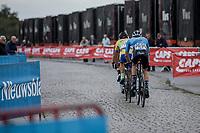 Breakaway group riding the cobbles.<br /> <br /> 103th Kampioenschap van Vlaanderen 2018 (UCI 1.1)<br /> Koolskamp &ndash; Koolskamp (186km)