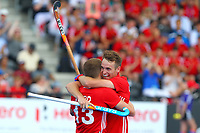 England's Chris Griffiths Congratulates Sam Ward on scoring  during the Hockey World League Semi-Final match between England and Argentina at the Olympic Park, London, England on 18 June 2017. Photo by Steve McCarthy.