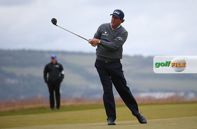 Phil Mickelson (USA) plays down the 18th into a head wind during Round Two of the 2016 Aberdeen Asset Management Scottish Open, played at Castle Stuart Golf Club, Inverness, Scotland. 08/07/2016. Picture: David Lloyd | Golffile.<br /> <br /> All photos usage must carry mandatory copyright credit (&copy; Golffile | David Lloyd)