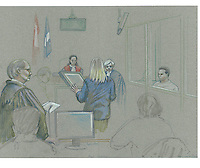 Montreal - CANADA - File images -  An artist's sketch shows Luka Rocco Magnotta, at his trial for the murder of Lin Jun,March 12, 2013.<br /> <br /> i. It is one of the most grisly and sensational murder trials in Canadian history<br /> <br /> Image :  Agence Quebec Presse  - Atalante