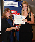 22/07/2015 GP Trainee Awards and Michael Lennard Reception 2015 hosted at The Holiday Inn, Filton, Bristol, by MDU. Dr Megan Rowlands (Somerset), winner of the Clinical award, is presented her certificate by Jane Strode-Gibbons Relationship Manager for Wesleyan.
