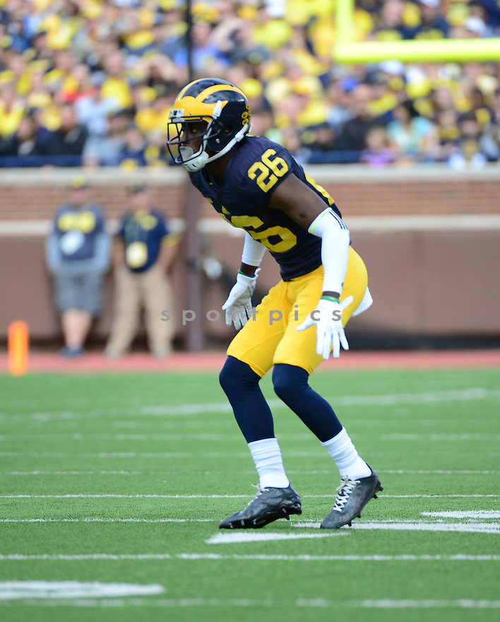 Michigan Wolverines Jourdan Lewis (26) during a game against the UNLV Rebels on September 19, 2015 at Michigan Stadium in Ann Arbor, MI. Michigan beat UNLV 28-7.