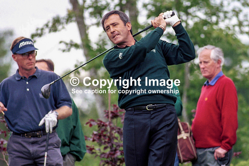 Seve Ballesteros, professional golfer, Spain, Murphy's Irish Open, Druid's Glen Golf Club, near Dublin, Rep of Ireland, July 1999, 199907004.<br /> <br /> Copyright Image from Victor Patterson, 54 Dorchester Park, <br /> Belfast, UK, BT9 6RJ<br /> <br /> t1: +44 28 9066 1296 (from Rep of Ireland 048 9066 1296)<br /> t2: +44 28 9002 2446 (from Rep of Ireland 048 9002 2446)<br /> m: +44 7802 353836<br /> <br /> e1: victorpatterson@me.com<br /> e2: victorpatterson@gmail.com<br /> <br /> www.victorpatterson.com<br /> <br /> Please see my Terms and Conditions of Use at www.victorpatterson.com. It is IMPORTANT that you familiarise yourself with them.<br /> <br /> Images used on the Internet must be visibly watermarked i.e. &copy; Victor Patterson within the body of the image and copyright metadata must not be deleted. Images used on the Internet have a size restriction of 4kbs and will be chargeable at current NUJ rates unless agreed otherwise.<br /> <br /> This image is only available for the use of the download recipient i.e. television station, newspaper, magazine, book publisher, etc, and must not be passed on to any third party. It is also downloaded on condition that each and every usage is notified within 7 days to victorpatterson@me.com<br /> <br /> The right of Victor Patterson to be identified as the author is asserted in accordance with The Copyright Designs And Patents Act (1988).