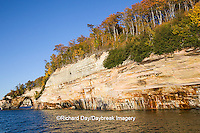 64745-00209 Pictured Rocks National Lakeshore in fall from Lake Superior near Munising MI