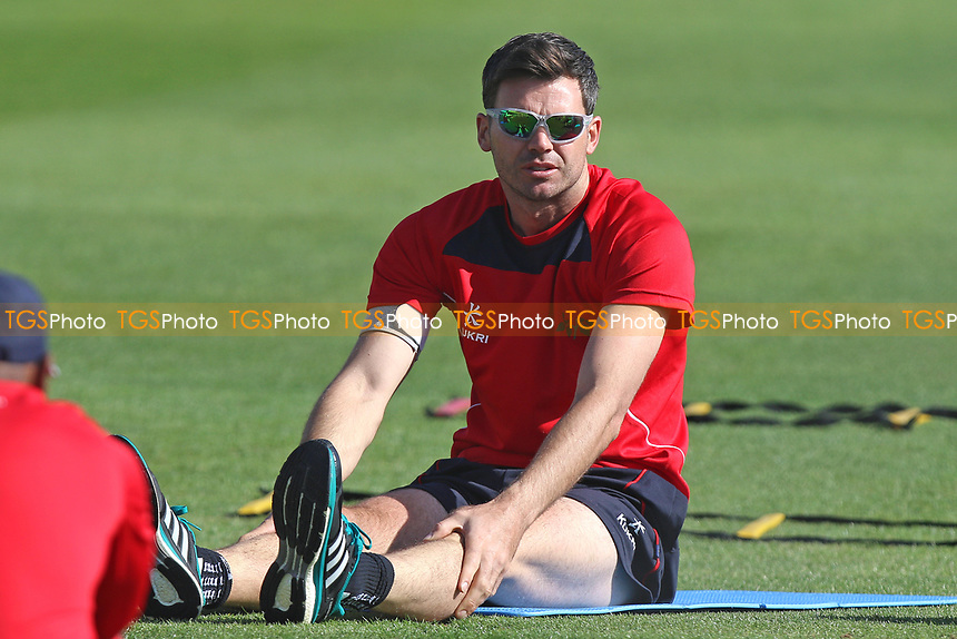 Jimmy Anderson of Lancashire warms up during Essex CCC vs Lancashire CCC, Specsavers County Championship Division 1 Cricket at The Cloudfm County Ground on 9th April 2017