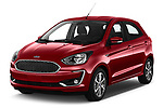 2019 Ford Ka+ Ultimate 5 Door Hatchback angular front stock photos of front three quarter view