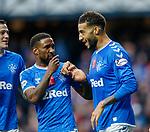 06.10.2019 Rangers v Hamilton: Connor Goldson celebrates his goal for Rangers with Jermain Defoe