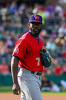 Buffalo Bisons outfielder Anthony Alford (7) warms up in the outfield prior to an International League game against the Indianapolis Indians on July 28, 2018 at Victory Field in Indianapolis, Indiana. Indianapolis defeated Buffalo 6-4. (Brad Krause/Four Seam Images)