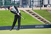 4th October 2017, The Old Course, St Andrews, Scotland; Alfred Dunhill Links Championship, practice round; Connor Syme, of Scotland, tees off on the first hole on the Old Course, St Andrews during a practice round before the Alfred Dunhill Links Championship