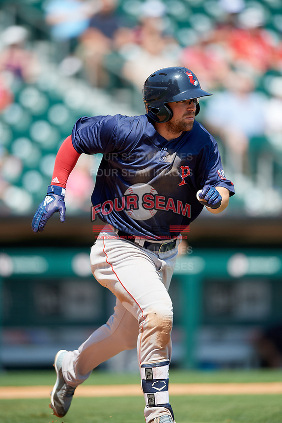 Pawtucket Red Sox center fielder Cole Sturgeon (22) runs to first base during a game against the Buffalo Bisons on June 28, 2018 at Coca-Cola Field in Buffalo, New York.  Buffalo defeated Pawtucket 8-1.  (Mike Janes/Four Seam Images)