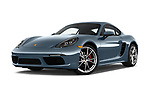 Stock pictures of low aggressive front three quarter view of a 2017 Porsche 718 Cayman S 3 Door Coupe
