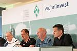 14.06.2019, Wohninvest Weserstadion, Bremen, GER, 1.FBL, Werder Bremen Partnerschaft mit Wohninvest, <br /> <br /> Werder Bremen hat die Namensrecht für 10 Jahre an die Wohninvest in Stuttgart verkauft. Das Stadiuon wird künftig wohninvest Weserstadion heißen<br /> im Bild<br /> <br /> Heinnz-Günther / Guenther Zobel (BWS Geschaeftsfuehrer)<br /> Klaus Filbry (Vorsitzender der Geschäftsführung / Kaufmännischer Geschäftsführer SV Werder Bremen)<br /> Harald Panzer ( Chief Exceutive Officer)<br /> Jens Zimmermann ( Sprecher wohninvest-Gruppe)<br /> <br /> <br /> Foto © nordphoto / Kokenge