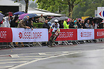 First rider out Elie Gesbert (FRA) Team Fortuneo-Oscaro in action during Stage 1, a 14km individual time trial around Dusseldorf, of the 104th edition of the Tour de France 2017, Dusseldorf, Germany. 1st July 2017.<br /> Picture: Eoin Clarke | Cyclefile<br /> <br /> <br /> All photos usage must carry mandatory copyright credit (&copy; Cyclefile | Eoin Clarke)