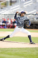 Everett AquaSox pitcher Marcos Reyna #14 delivers a pitch during a game against the Spokane Indians at Everett Memorial Stadium on June 24, 2012 in Everett, WA.  Spokane defeated Everett 11-2.  (Ronnie Allen/Four Seam Images)