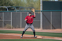 Arizona Diamondbacks first baseman Austin Byler (47) prepares to make a catch during a Spring Training game against Meiji University at Salt River Fields at Talking Stick on March 12, 2018 in Scottsdale, Arizona. (Zachary Lucy/Four Seam Images)