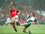 Stuart Pearce of Nottingham Forest challenges Ian Rush of Liverpool - Premier League - Nottingham Forest v Liverpool - City Ground - Nottingham - England - 23rd March 1996 - Picture Simon Bellis/Sportimage